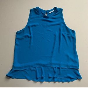 SIONI Teal Blue Chiffon High Neck Layered Blouse